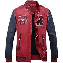 b0a8e5bdfc0e YYZYY Homme Veste Casuel Cuir PU Teddy Baseball Blouson avec Doublure  Jackets Col Montant Automne Hiver