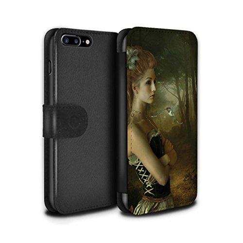 Officiel Elena Dudina Coque/Etui/Housse Cuir PU Case/Cover pour Apple iPhone 8 Plus / Coucher Soleil Design / Les Oiseaux Collection Forêt/Collier de Perles