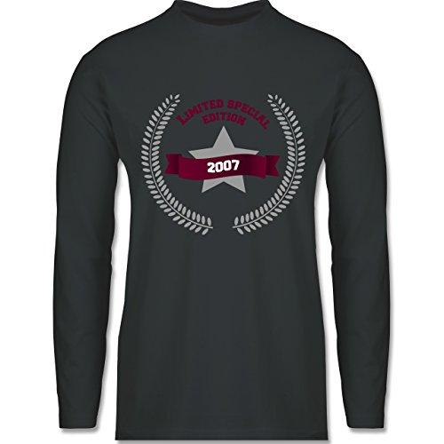 Shirtracer Geburtstag - 2007 Limited Special Edition - Herren Langarmshirt Dunkelgrau