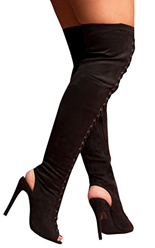 Women's Ladies Faux Suede Knee High Lace Up Heeled Peep Toe Boots Black