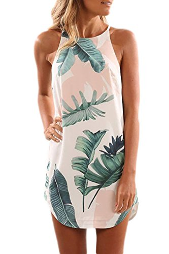 FIYOTE Damen Minikleid Strandkleid Sommerkleid Ärmellos Rundkragen Retro Blumendrucken Hellrosa L