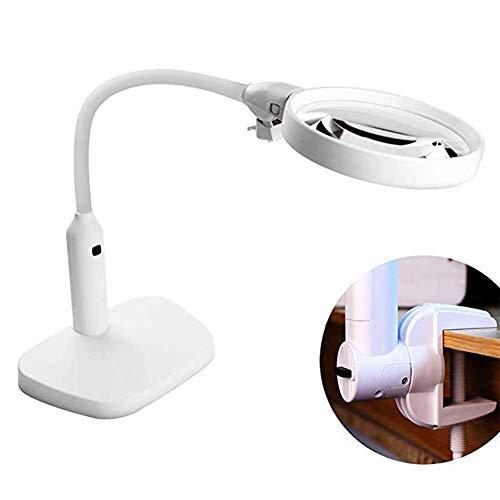 AZWE Beleuchtete Lupe, Tischklemme mit 6 LED-Licht Hd 2X 5X Linse Metallschlauch verstellbarer Schwenkarm Utility Clamp Light für Old Man Book Reading Carvin -