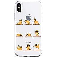 Oihxse Transparente Funda para iPhone X/iPhone XS Ultrafina Silicona Suave TPU Carcasa Interesante Perro Patrón Flexible Protectora Estuche Antigolpes Anti-Choque (A2)
