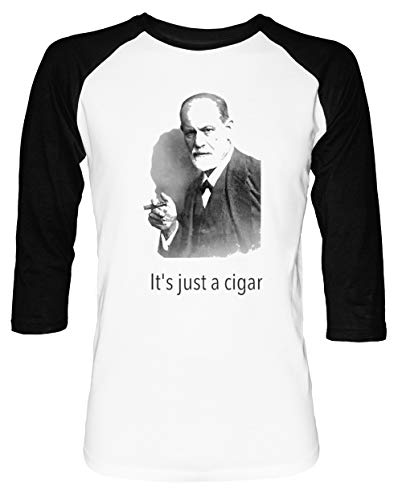 It's just a Cigars Sigmund Freud - Freud Herren Damen Unisex Baseball T-Shirt Weiß Schwarz 2/3 Ärmel Women's Men's Unisex