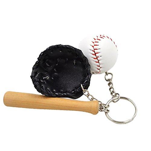 Mini-Baseball-Ball + Schläger + Handschuh-Set Anhänger Schlüsselring Geschenk - Schwarz