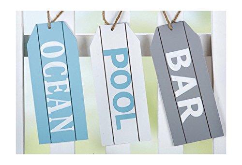 GILDE Hängeschilder Ocean, Pool, BAR im 3er Set, Ideal für Terrasse und Garten, Maritime Farbgebung in Weiss, grau und blau