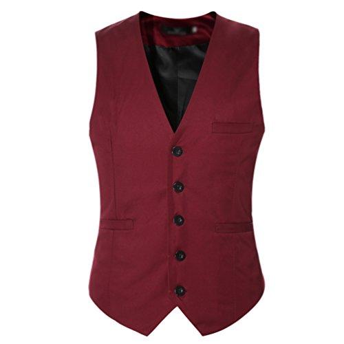 CHENGYANG Herren Anzugweste Slim Fit Freizeit Business Casual Weste Einfarbig Ärmellos Anzug Jacke (Wein Rot, 4XL)