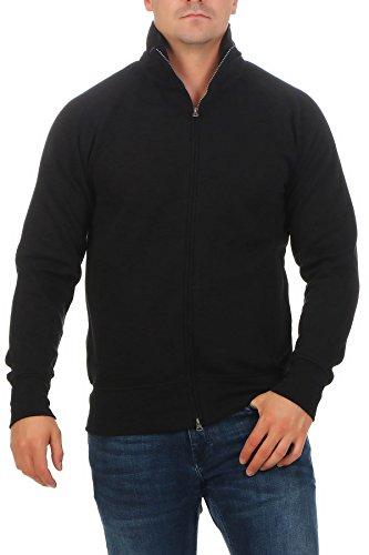 Happy Clothing Herren Sweatjacke ohne Kapuze Zip-Jacke Reißverschluss mit Kragen, Größe:L, Farbe:Schwarz - Kapuze Sweatshirt Jacke