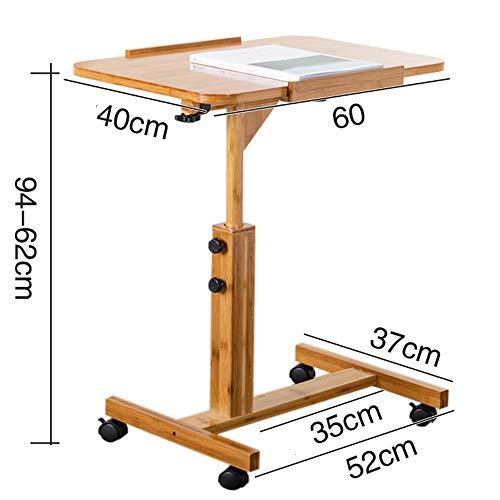 Zfggd Mobile Laptop Tisch Sofa Nachttisch Schreibtisch, höhenverstellbarer Computer Sturdy Notebook Schreibtisch mit Rädern Work Station Rolling Cart (Size : 40 * 60cm) (Ergonomische Computer-cart)