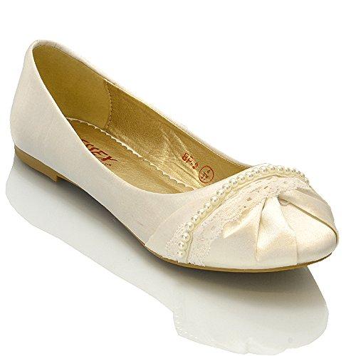 Essex glam scarpa donna satinato ballerina lacci perle senza tacco matrimonio (uk 6 / eu 39 / us 8, avorio satinato)