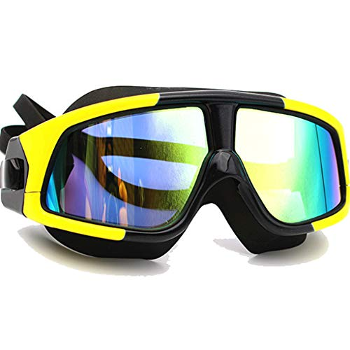 BAOFI Schwimmguder Free Protection Case Professional Swim Gläser Anti-Nebel UV-Schutz Kein undichtes Triathlon Equipment, Super Large Frame Silikon-Plating-Eyewear, 7 Choices,Electroplatedyellowblack