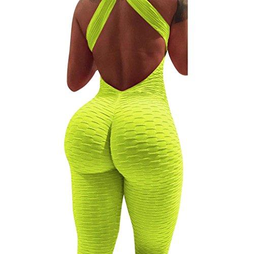 Damen Sommer Jumpsuit Rückenfrei Einteiliges Yoga-Sport-fitnessstudio Fitness Ärmellos Schlanker Anzug Workout Overall (M, Gelb)