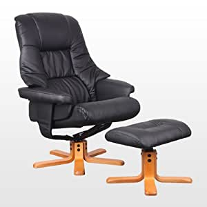 SORENTO LEATHER BLACK SWIVEL RECLINER ARMCHAIR CHAIR with FOOT STOOL