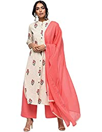 RAJMANDIRFABRICS Women's Cotton Straight Kurta With Pant and Dupatta Set