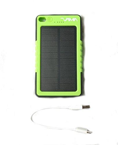 VAMA Solarhack mit 12000 mAh Kapazität - Solar Power Bank - Solar Ladegerät für Smartphone, Tablet und andere Geräte - IP67 Spritzwasser geschützt, Stoß- und Staubsicher - mit Taschenlampenfunktion - Die Powerbank ! (Grün) (Solar-sonne Hat)