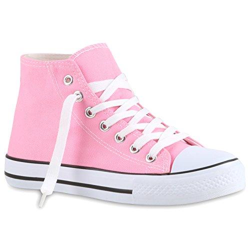 Sportliche Damen Sneakers |Stoffschuhe Camouflage Schnürer | Sneaker High Neon | Sportschuhe Pink