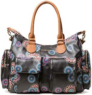 Desigual - Bag Mandri London Women, Shoppers y bolsos de hombro Mujer, Negro, 15.5x25.5x32 cm (B x H T)