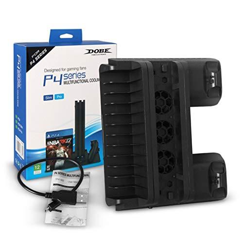 DERNON Multifunktions-Kühlständer CD-Halter Doppel-Ladegerät für PS4-Serie Konsole schwarz -