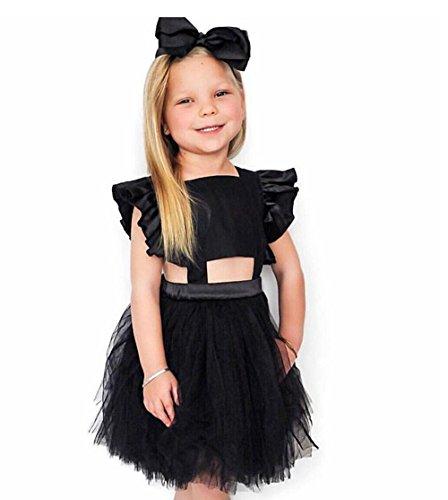 UFODB Baby Kleider Für Mädchen, Kids Prinzessin Festlich Backless Bowknot Mesh Riemen Falten Pailletten Schneeflocken Kostüm ärmellos Sommer Chiffon ()