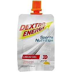 Dextro Energy Liquid Gel Orange / Flüssiges kohlenhydratreiches Konzentrat-Gel mit Vitamin B-Komplex für Ausdauer- & Leistungs-Sportler - leicht trinkbar / 6 Beutel (6 x 60ml)