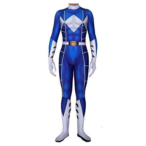 Power Rangers Kostüm Erwachsene Verkleidung Kinder Superhelden Kostüme,Cosplay Partei Kostüm,Held Halloween Karneval Fasching Cosplay,AdultBlue-M