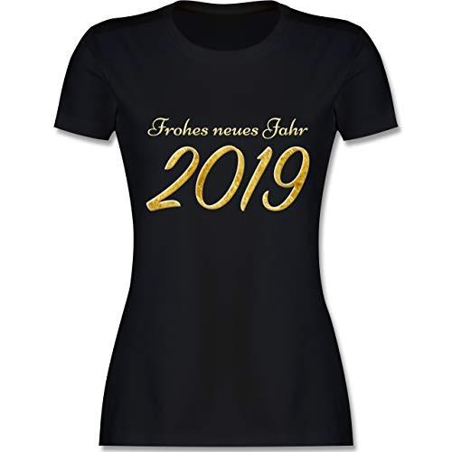 Weihnachten & Silvester - Happy New Year 2019 Gold Silvester - XL - Schwarz - L191 - Damen Tshirt und Frauen T-Shirt