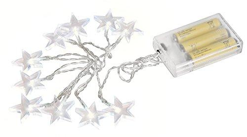 VBS 10er Stern LED Lichterkette für Batterien mit Schalter warmweiß Weihnachtsdeko Lampen E Lichter