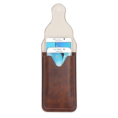 Wkae Case Cover Für Samsung Galaxy S7 / G930 &S7 Rand / G935 &S6 / G920 &S6 Rand / G925, iPhone 6 Plus &6s Plus und andere 5,1-5,5 Zoll Smart Phones Klassik Elefant Textur Vertical Flip Ledertasche Gü Coffee