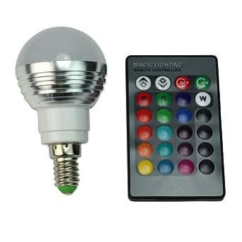Télécommande + LED Lampe Ampoule E14 RGB 85V-265V 3W Aluminium 200-240 Lumens