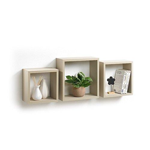 Modul'home 6ran789bc - mensole a cubo, in mdf, 11,8 x 30 x 30 cm, pannello mdf, tortora, 3 taglie 23 cm/26,5 cm/30 cm