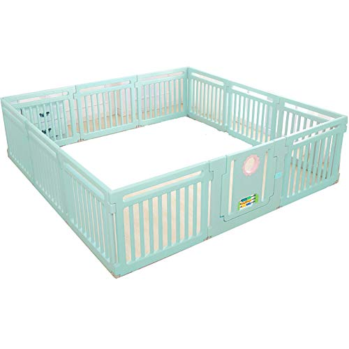 Playpen Baby Baby Kids Baby Indoor Outdoor Safety Game Fence Classic Set 11+1 Panel (color : Green)  ZAY