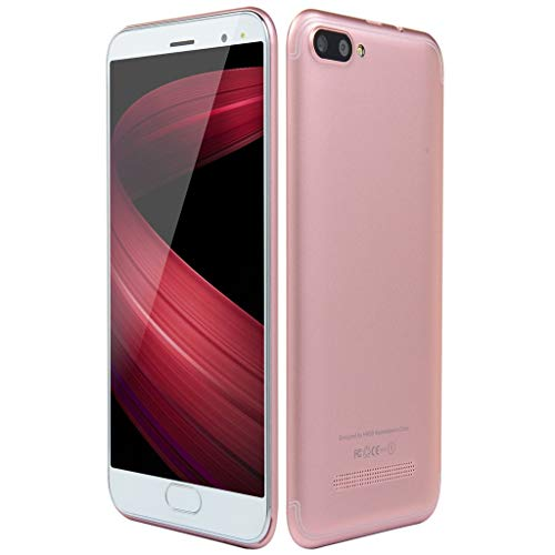 QHJ Smartphone 5,0-Zoll-Dual-SIM-Smartphone Android 6.0 Vollbild GSM/WCDMA-Touchscreen WiFi Bluetooth GPS 3G Anruf-Handy (Roségold)
