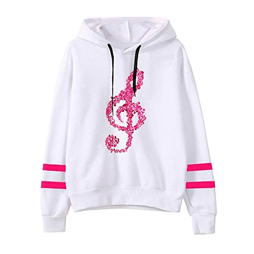 HEATLE Mode Damen Persönlichkeit Musiknoten Langarm Kapuzenshirt Kapuzenpullover Tops Bluse(Hot Pink,S)