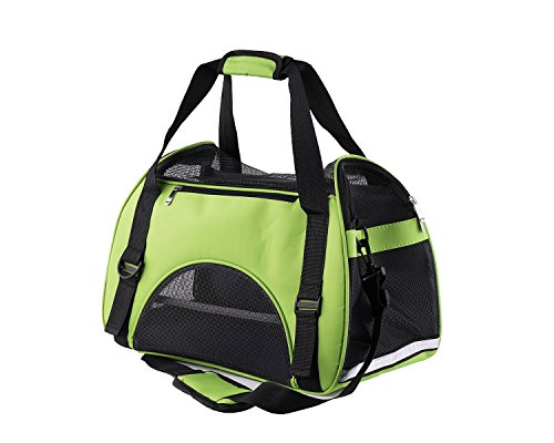Haustier Träger für Hunde & Katzen, Hundebox, Hundetragetasche Katzentragetasche, Transportbox Reisebox Katzenbox [ Grün ]