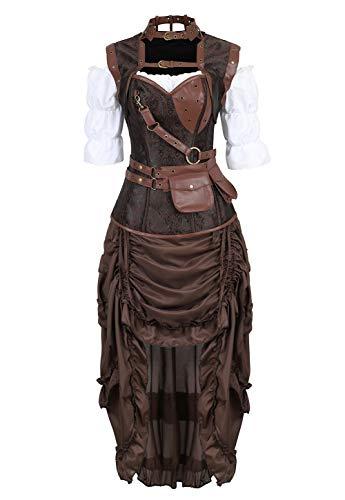 Grebrafan Steampunk Kunstleder Korsett Corsage Kostüm mit Pirat Spitzenrock und Bluse - für Karneval Fasching Halloween (EUR(40-42) 2XL, - Kostüm Von Piraten