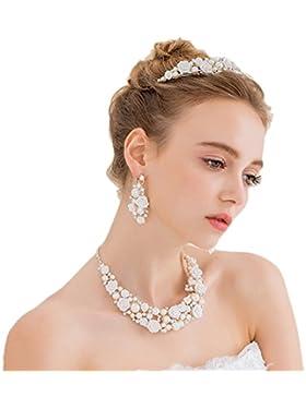 Miya® mega luxus Schmuckset Perle Kette und Ohrringe mit super glänzende Kristall Blumen in der Mitte, Brautschmuck...