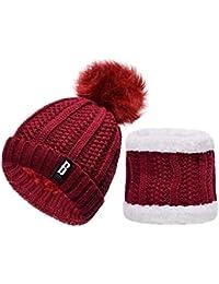 147eae6f29f6 heekpek Pack Bonnet Et Écharpe Femme, écharpe pour femmes cercle et  ensemble bonnet au crochet
