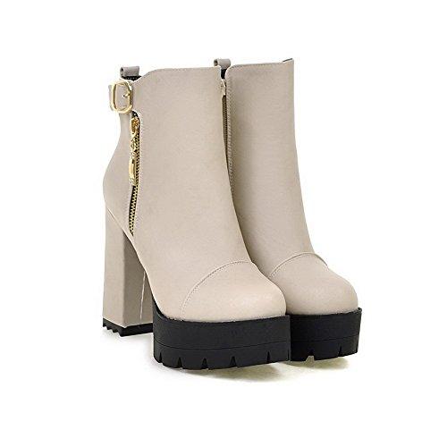VogueZone009 Donna Cerniera Tacco Alto Puro Bassa Altezza Stivali con Metallo Grigio