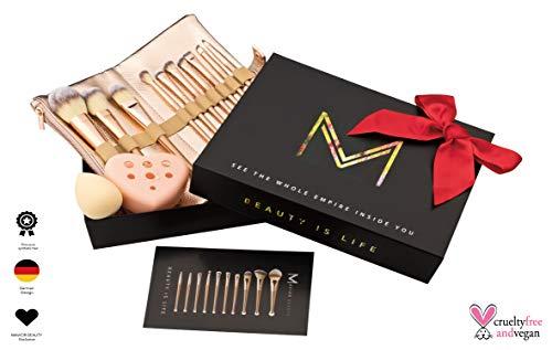 Mavior Beauty Professionelles Make up Pinsel Set incl. schöner Pinseltasche für Kosmetikpinsel, Beauty Schwamm und Pinselreiniger Kosmetik - Makeup Pinselset Beauty Weihnachtsgeschenk für Frauen - Smokey Eye-pinsel-set