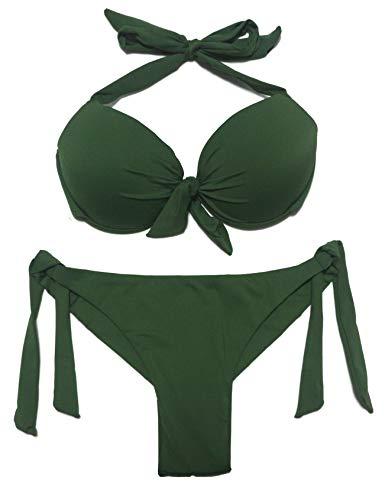 EONAR Damen Bademode Nackenträger Push up Bikinioberteil mit Underwire Niedriger Bund Bikinihosen Seitlich zu binden Brazil-Bikinislip Bikini-Sets(L,Army Green)