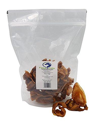 Food4Pets Getrocknete Schweineohrstreifen Kausnack für Hunde 500g - der Leckere Hundesnack