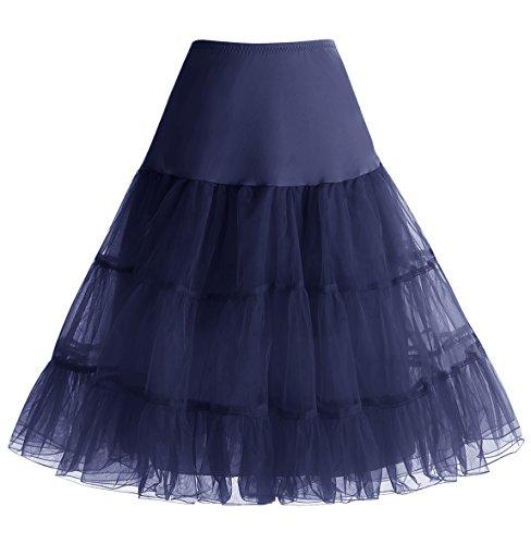 Homrain Damen 50er Vintage Petticoat Rockabilly Unterrock Mini Kleid Dark Navy (Kleider Girls Jahre 50er)