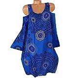 OdeJoy Damen Plus Größe Minikleid Lose Langeärmel Kleid Hohl Aus Spitze Trägerlos Sonne Kleider Aus Schulter Gedruckt Kurzerkleid Casual Wild Dress Persönlichkeit Kleid (Blau,S)