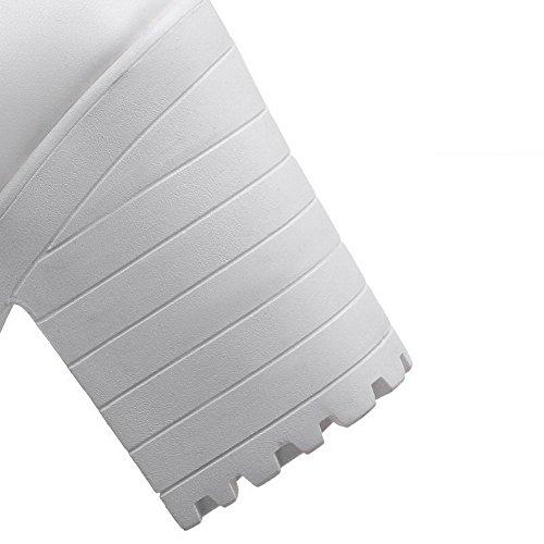 AllhqFashion Femme Pu Cuir Zip Ouverture Petite à Talon Haut Couleur Unie Sandales à Plate-Forme Blanc