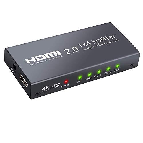 Neoteck HDMI 2.0 Splitter 4 Vías 4K@60Hz YUV 4: 4: 4 y HDR Inteligente Splitter Box 1 in 4 out Amplificador de distribución HDMI para Xbox One X PS4 Pro Sky Box Reproductor de BLU-Ray Proyector de TV