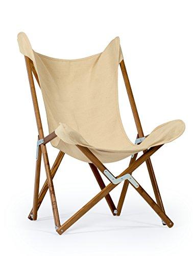Telami Sedia Tripolina Made in Italy - Icona del Design - Pieghevole - per Indoor e Outdoor - Colore Ecru su Tessuto Naturale 50% Cotone e 50% Juta