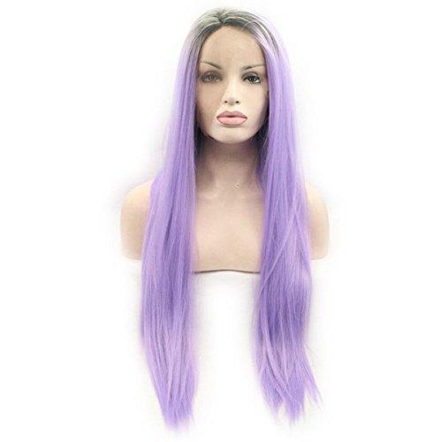 SHKY braun/Purple 2 Tone ombre Silky Straight Synthetic Lace Front Perücke lila geradeaus Hitze resistente Faser Haare mit dunkler Wurzel , 26 (Twotone Perücke Blau Kostüme)