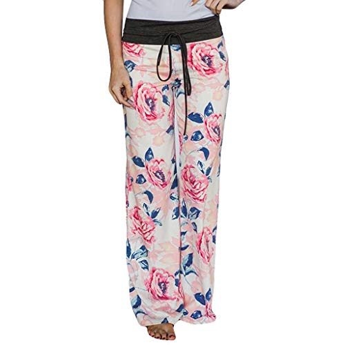Makefortune  Women Floral Print Pajama Drawstring Comfy Stretch Palazzo Lounge Pants Wide Leg Pants High Waist Yoga Leggings Trousers - Floral Lace High-leg