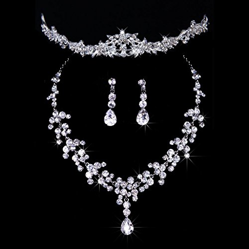 Musuntas Fashion bridal wedding jewelry Jewellery Set Crystal Rhinestone Tiara + Necklace + earrings for wedding party