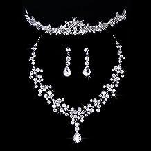 Musuntas Fashion bijoux de mariage mariée bijoux Set strass cristal Tiara  collier + boucles d\u0027